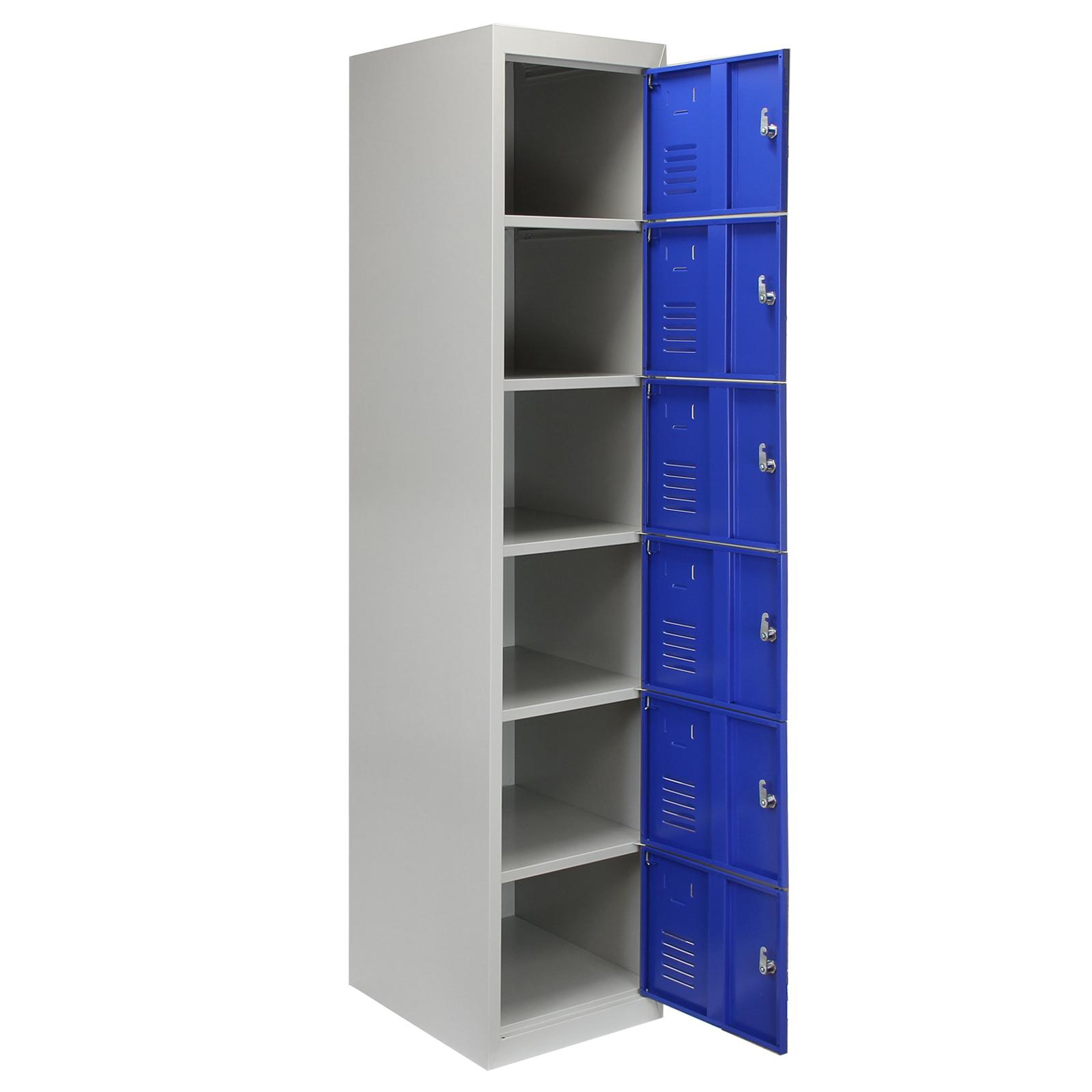 Steel Lockers 6 Doors Lockable Metal Storage Staff Gym Changing Room School Blue Ebay