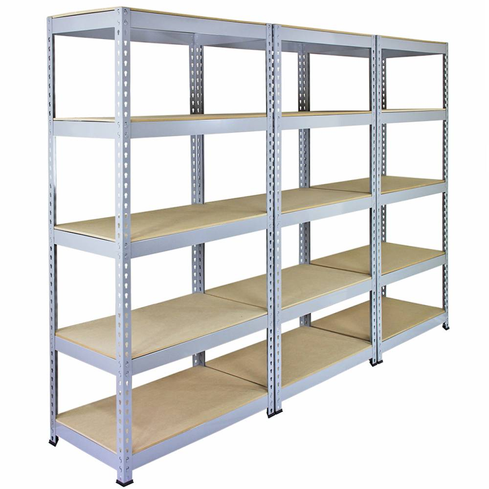 3 racking bays 90cm garage shelving storage warehouse shelves unit steel 5 tier ebay. Black Bedroom Furniture Sets. Home Design Ideas