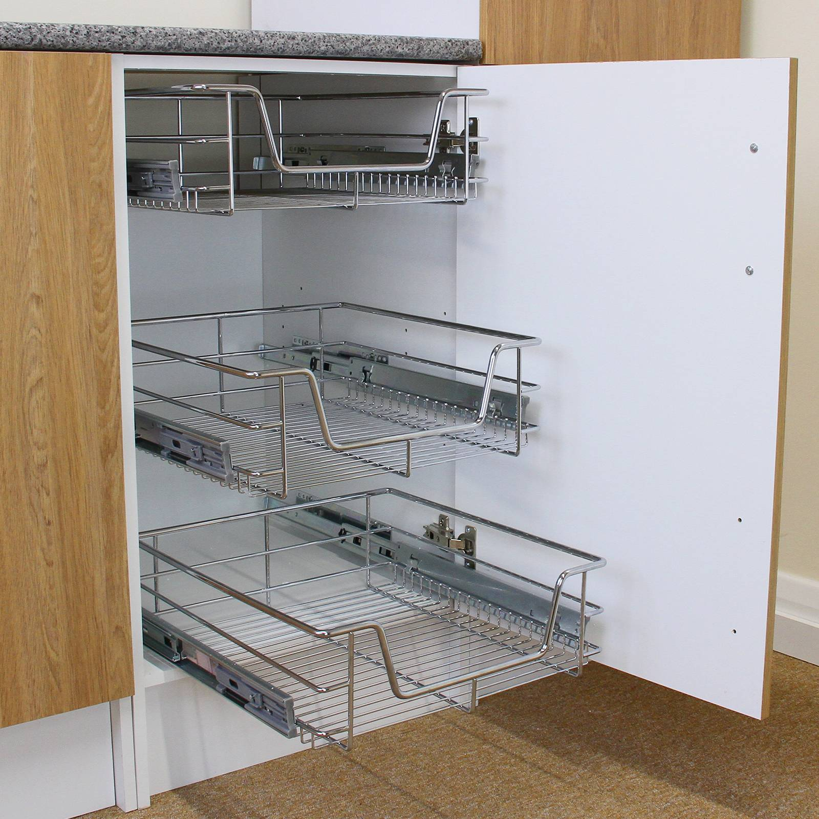 3 pull out kitchen wire baskets slide out storage cupboard for 50cm deep kitchen units