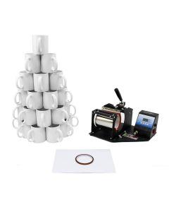 PixMax Sublimation Mug Press plus 72 Mugs Bundle F2
