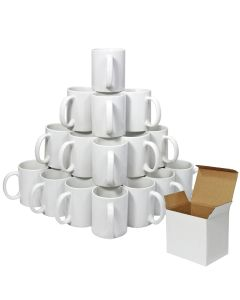 36 White Polymer Coated AAA Mugs With Boxes