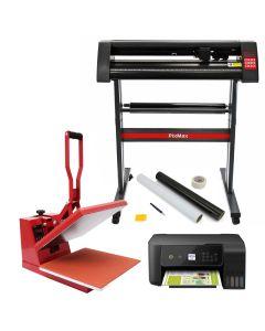 PixMax Heat Press, Vinyl Cutter, SignCut Software, Printer & Weeding Pack Bundle