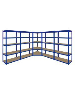 Monster Racking T-Rax Corner Shelving Unit & 4x 90cm Garage Storage Bays, Blue