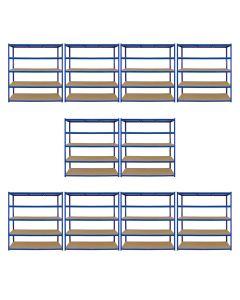 Monster Racking T-Rax 10 x Extra Wide Storage Shelves, Blue, 160cm W, 60cm D