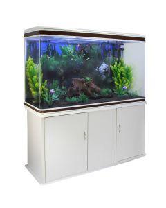 Aquarium Fish Tank & Cabinet with Complete Starter Kit - White Tank & Black Gravel