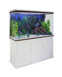 Aquarium Fish Tank & Cabinet with Complete Starter Kit - White Tank & White Gravel