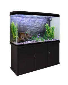 Aquarium Fish Tank & Cabinet with Complete Starter Kit - Black