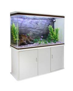 Aquarium Fish Tank & Cabinet with Complete Starter Kit - White Tank & Natural Gravel - EU Plug