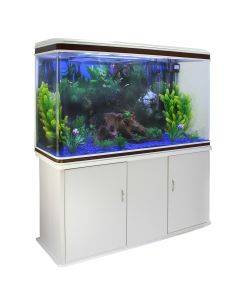 Aquarium Fish Tank & Cabinet with Complete Starter Kit - White Tank & Blue Gravel