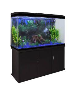 Aquarium Fish Tank & Cabinet with Complete Starter Kit - Black Tank & Blue Gravel
