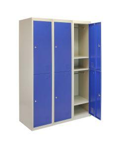 3 x Metal Storage Lockers - Two Doors, Blue