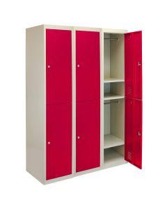 3 x Metal Storage Lockers - Two Doors, Red