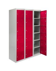 3 x Metal Storage Lockers - Six Doors, Red - Flatpack