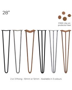 """4 x 28"""" Hairpin Steel Table Furniture Legs"""