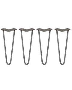 "4 x 14"" Hairpin Legs - 2 Prong - 12mm - Raw Steel"