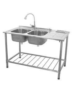 KuKoo Commercial Catering Sink Double Bowl / Right Hand Drainer
