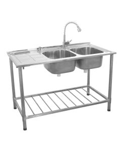 KuKoo Commercial Catering Sink Double Bowl / Left Hand Drainer