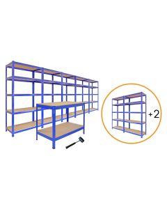 Boltless 5Tier Garage Shelves Shelving Racking Organiser Storage Workbench Unit