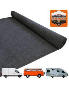 Van Carpet Lining / Anthracite Dark Grey & 5 Adhesive Cans