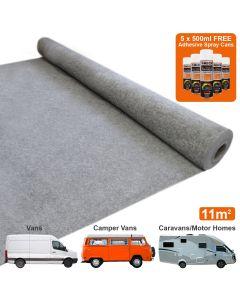 Van Carpet Lining / Smoke & 5 Adhesive Cans