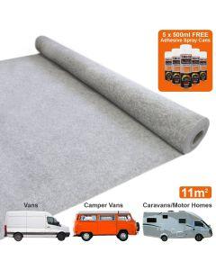 Van Carpet Lining / Silver Grey & 5 Adhesive Cans