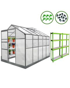 Greenhouse 6ft x 10ft With Base And 2 x Water-Resistant Racks