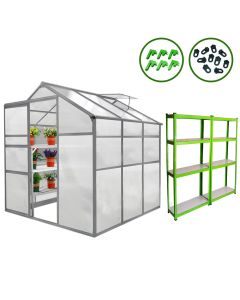 Greenhouse 6ft x 6ft And 2 x Water-resistant Racks