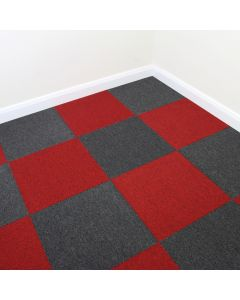 40 x Carpet Tiles 10m2 / Charcoal Black & Scarlet Red