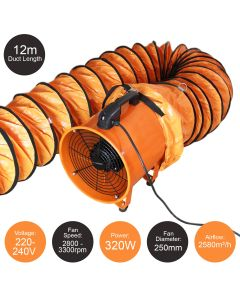 MAXBLAST Dust Extractor 250mm 320W with 12m Duct