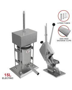 15L Electric Sausage Stuffer & Clipper Bundle