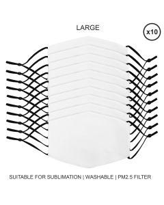 Large Face Masks Sublimation Blanks / 10 Pack
