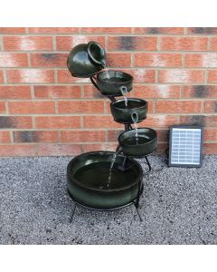 Green 4 Tier Spilling Bowls Water Feature