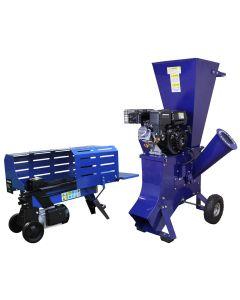 T-Mech Log Splitter 5T 370mm & T-Mech 6.5HP Wood Chipper