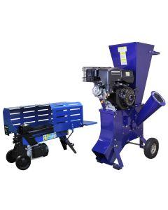 T-Mech Log Splitter 5T 370mm & T-Mech 15HP Wood Chipper
