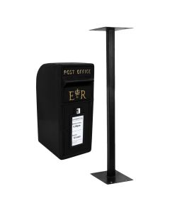 Black Royal Mail Post Box with Stand