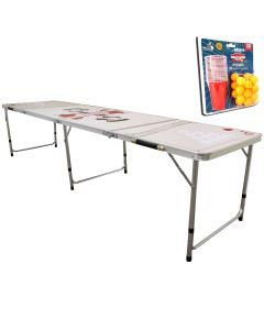8FT Beer Pong Table & 40 Piece Game Set
