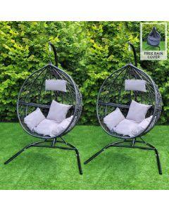2 Black Egg Chairs