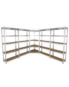 Galwix 90cm Racking Bundle: Corner Shelving and 4 Garage Racking Bays