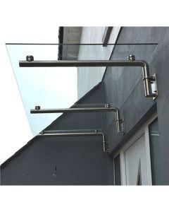 MonsterShop Glass Door Canopy & Brackets, 180cm W, 80cm D