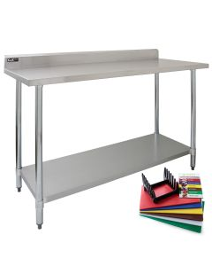 5ft Commercial Stainless Steel Catering Table & 6 Chopping Boards