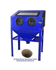 MAXBLAST Sandblasting Cabinet 220L & 60 Mesh Brown Aluminium Oxide