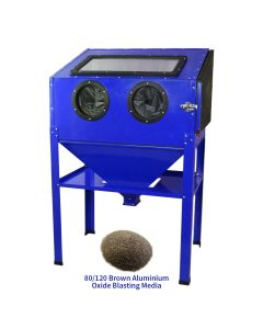 MAXBLAST Sandblasting Cabinet 220L & 80/120 Brown Aluminium Oxide
