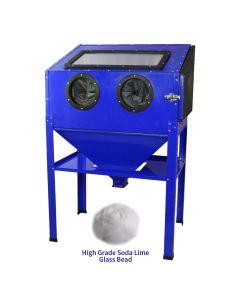 MAXBLAST Sandblasting Cabinet 220L & High Grade Soda Lime Glass Bead