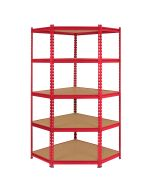 Monster Racking Z-Rax Corner Storage Shelf Unit, Red, 90cm Wide
