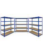 Monster Racking T-Rax 3 x Extra Wide Storage Shelves, Blue, 160cm W, 60cm D