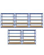 Monster Racking T-Rax 5 x Extra Wide Storage Shelves, Blue, 160cm W, 60cm D