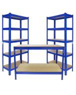 Monster Racking 2 x T-Rax 75cm Blue & Metal Storage Workbench