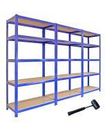 3 x Monster Racking T-Rax Metal Storage Shelves, Blue, 90cm W, 45cm D