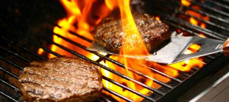 Sizzling Burgers on BBQ