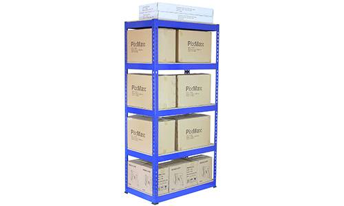 Metal Shelving Unit Holding Boxes